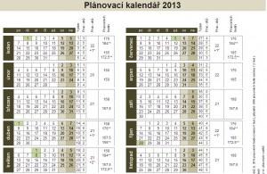 Plánovací kalendář 2013